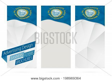Design Of Banners, Flyers, Brochures With South Dakota State Flag.