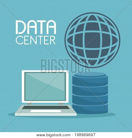 color background with laptop computer and rack drive global symbol and text data center vector illustration