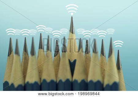 pencil and signal of internet wave of wireless icon on top concept of leader control of around and connect in business to success
