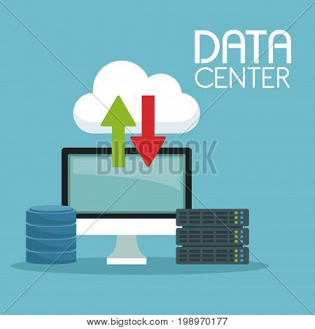 color background with global cloud storage and computer display with rack server drive and text data center vector illustration