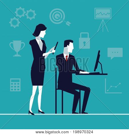color background with team of executives with tech device in office vector illustration