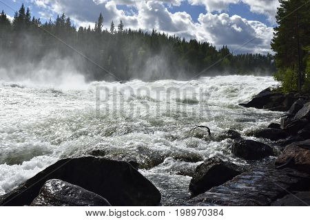 The rapid (Storforsen) in the river (Piteälven) with stones in foreground picture from the North of Sweden.