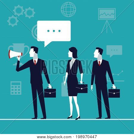 color background business growth with executive team with megaphone and text dialogue vector illustration