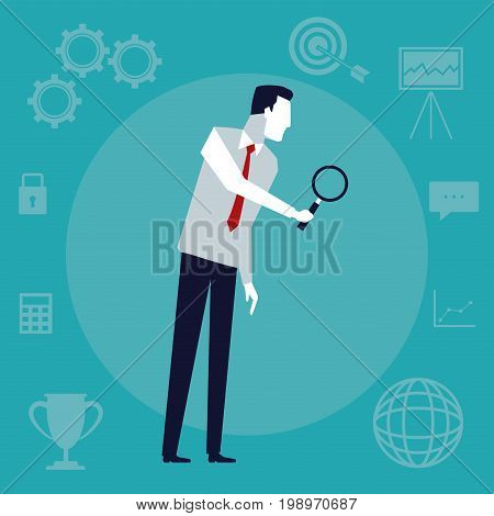 color background with executive man with magnifying glass vector illustration