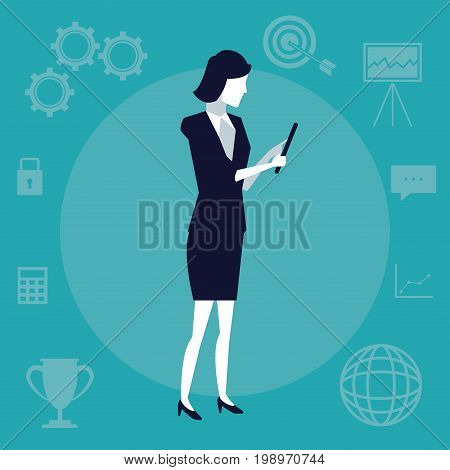 color background with executive woman with tablet device vector illustration