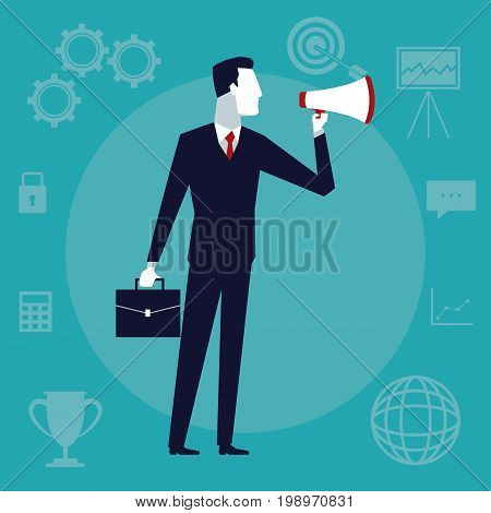 color background business growth with executive man with megaphone and portfolio vector illustration