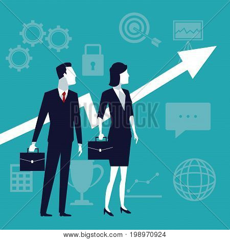 color background with executive couple and arrow symbol business growth vector illustration