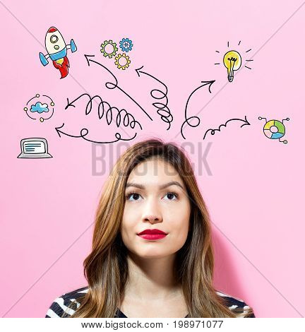 Arrows with cartoon with young woman on a pink background