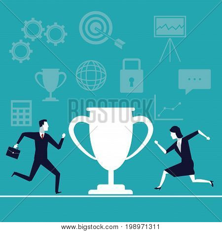 color background with executive people running to cup trophy vector illustration
