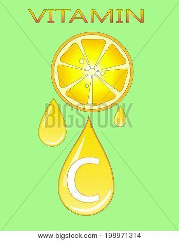 vitamin C, lemon. vector illustration, hand draw