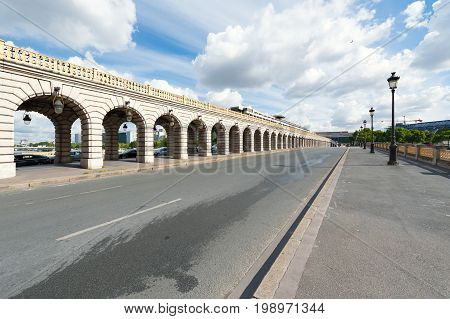 Bercy bridge on a sunny day in Paris, France
