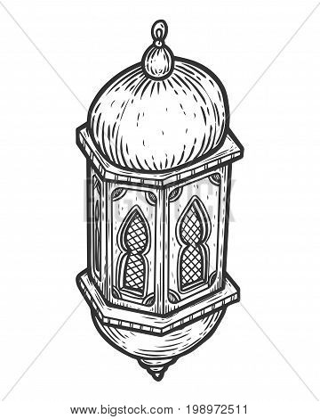 Ramadan Kareem Ornamental Lantern Engraving Sketch. Greeting Card, Invitation For Muslim Community H
