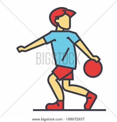 Basketball player, game, team concept. Line vector icon. Editable stroke. Flat linear illustration isolated on white background