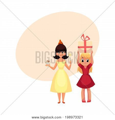 Two girls at birthday party, one mischievous with ice cream and magic wand, another holding big gift, cartoon vector illustration with space for text. Happy girls having fun at birthday party