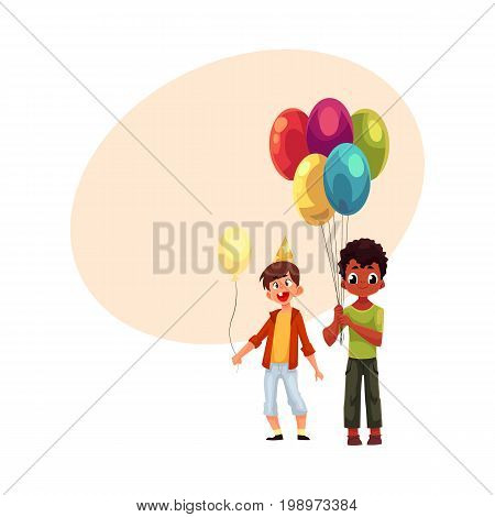 Black and Caucasian little boys with balloons, birthday celebration party, cartoon vector illustration with space for text. Two boys, kids at birthday party, holding balloons