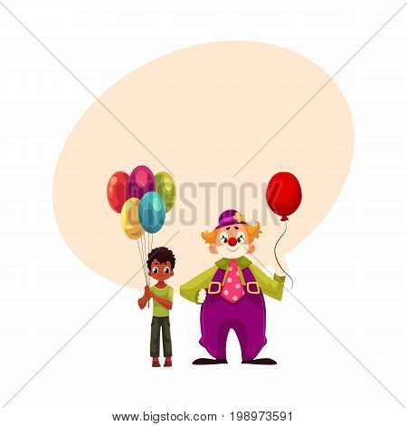 Black, African American boy holding balloons standing with funny clown, cartoon vector illustration with space for text. Black, African boy and man in clown costume holding balloons