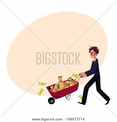 Young man, businessman in glasses, stressed and worried, pushes wheelbarrow of money bags, cartoon vector illustration with space for text. Nervous businessman pushing wheelbarrow with money