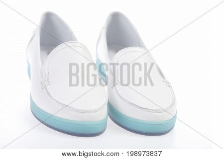 Pair Of Female Leather Moccasins In White Color