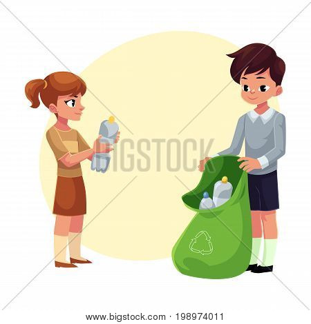 Kids, boy and girl, collect plastic bottles into garbage bag, waste recycling concept, cartoon vector illustration with space for text. Children, boy and girl, collect plastic bottle garbage