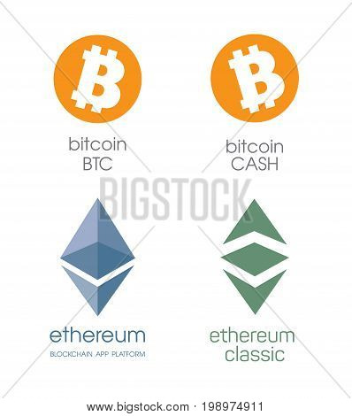 Logo bitcoin and bitcoin cashe. Ethereum cripto currency chrystal icon. Blockchain platform logo. Sign Ethereum classic currencies. Symbol of smart technologies. Decentralized computer networks