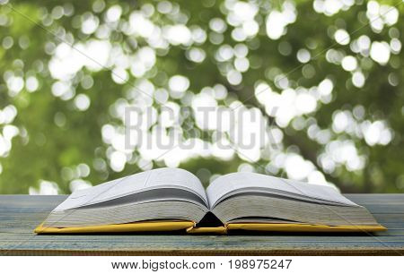 book on wood table and green bokeh background concept as opening paper will see knowledge of the world learning by yourself and improve your life