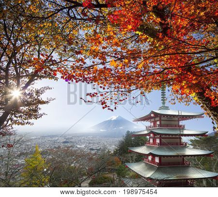 The imaging of Mt. Fuji autumn with red maple leaves Japan