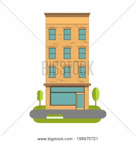 The town house a vector an illustration urban landscape in flat style. Old building.Multi-storey apartment house with shop.The high-rise building with shop on the first floor.City residential building
