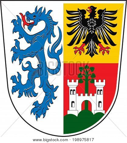 Coat of arms of Traunstein is a district in Upper Bavaria Germany. Vector illustration from the