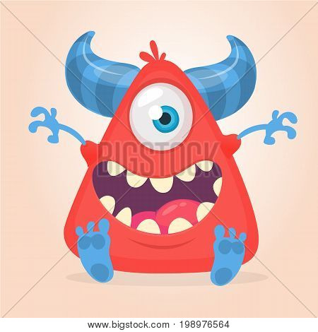 Cool cartoon red monster. Vector horned one eye cyclop monster screaming