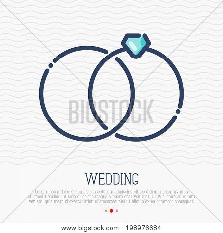 Wedding rings thin line icon, marital status. Vector illustration for logo of wedding organizer, photographer, element for greeting card, flyer.