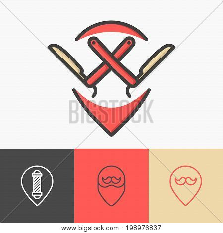 Four minimalistic pointers for barber shop: with straight razor, mustache, beard, pole. Thin line symbols of hairdresser. Vector illustration.
