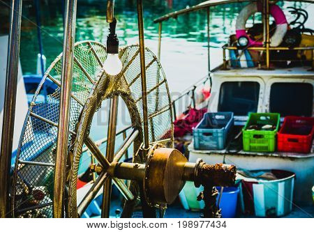 Deck on a fishing boat, fishing attributes Cyprus