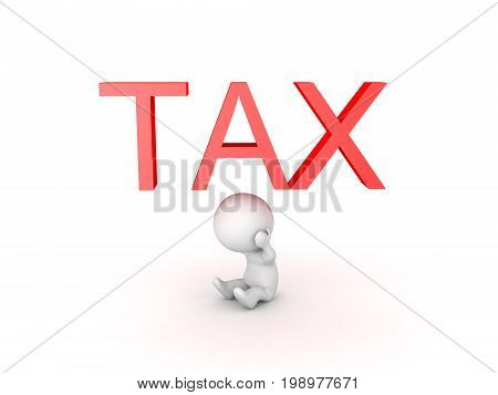 3D Character is stressed about taxes. Isolated on white.
