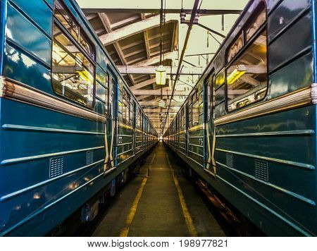 Subway cars in the depot Russian undeground