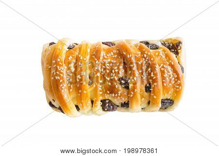 White Sesami And Raisins Bread On White Wood., Clipping Path Included