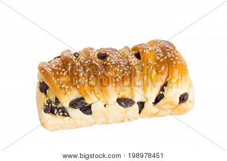 White Sesami And Raisins Bread On White Wood