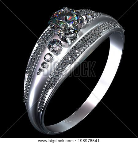 White gold engagement ring with gem. Luxury jewellery bijouterie from silver or platinum with gemstone. Top view of finger ring with shining diamond 3D rendering on black background.