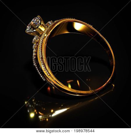 Gold ring with diamond gem jewelry. Luxury jewellery bijouterie with crystal gemstone for people in love .Reflection of light inside ring inside ring on black background. 3D rendering