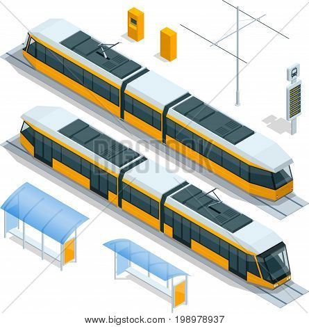 Set of isometric passenger Tram Train, Streetcar City Electric transport Streetcar Isolated on white Modern Urban Tramcar, Light rail train for branding identity and advertising design.