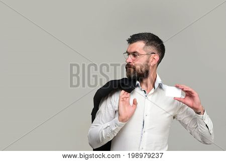 Guy With Blank Business Card, Copy Space. Success And Business