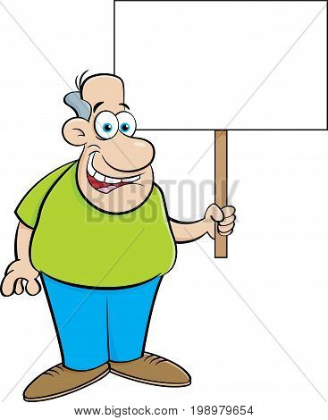 Cartoon illustration of a man holding a sign.