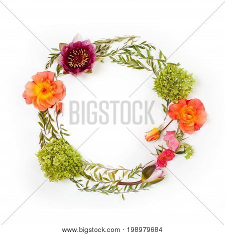 Floral Round Crown (wreath) With Flowers And Leaves. Flat Lay, Top View. Creative Arrangement With R