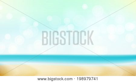 Empty Tropical Beach Background Vector. Seascape Tropical Illustration. Travel Holiday Adventure Concept. Exotic Illustration