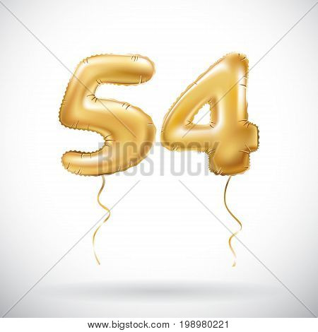 Vector Golden Number 54 Fifty Four Metallic Balloon. Party Decoration Golden Balloons. Anniversary S