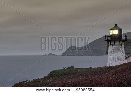 Point Montara Lighthouse at Dusk. Montara, San Mateo County, California, USA.
