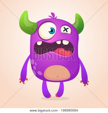 Surprised cute cartoon monster icon. Vector monster mascot. Halloween design for emblem or sticker