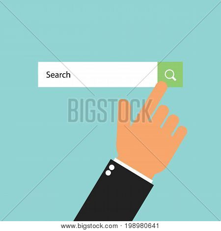 Businessman click search button. Finger touching search button. Searching concept. Vector stock.