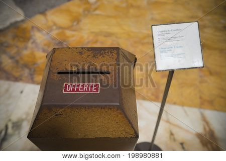 church donation box (offerte in italian) in the famous pantheon church in rome