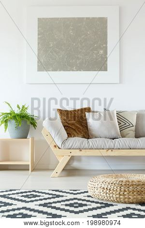 Beige Couch, Wood And Fern