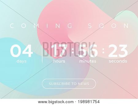 Vector Illustration of Countdown Timer. Digital Clock Design on Pastel Abstract Fluid Background. Futuristic Counter for Website Interface Wallpaper Application Game.